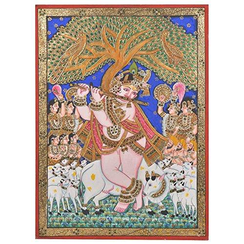 Étagère Indien Fait à la Main Murali Krishna Peinture de Peinture avec Cadre Pt-152