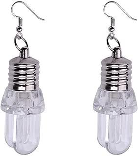 Novel Earring Kinghard Women ear cuff earring dangle earrings for women Light Up Blinking Bulb Ear Hook Dangle Jewelry Women LED Earring,Creative, Funny and Lovely, 1Pair (C, Clear)