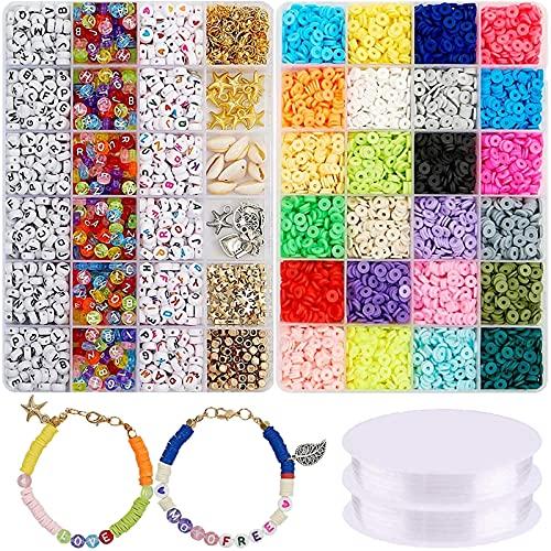 oshhni 7048 piezas de cuentas de arcilla, cuentas de arcilla polimérica planas y redondas, kit de joyería de bricolaje para collar de pulseras, accesorios de