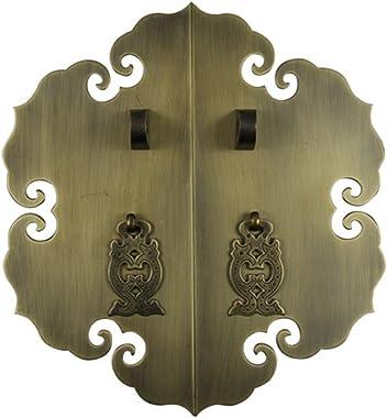 Handle,Chinese Furniture Antique Handle Brass Fitting Lock Door Handle Door Lock Knob Cabinet face Plate Hardware Screw Insta