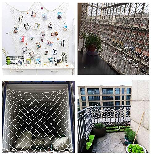 Nylon Rope Netting Outdoor, Safety Net, Child Protection Net Weaving Net Cat Net, Balcony Stair Guardrail Anti-falling Kindergarten Decoration Climbing Trampoline Climbing Rope Net White 2x8m
