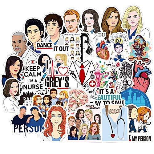 SUNYU Tv Show Greys Anatomy Waterproof Stickers Kids Toy Sticker Sticker Car Decor Skateboard Sticker for Phone Diary Laptop 50Pcs
