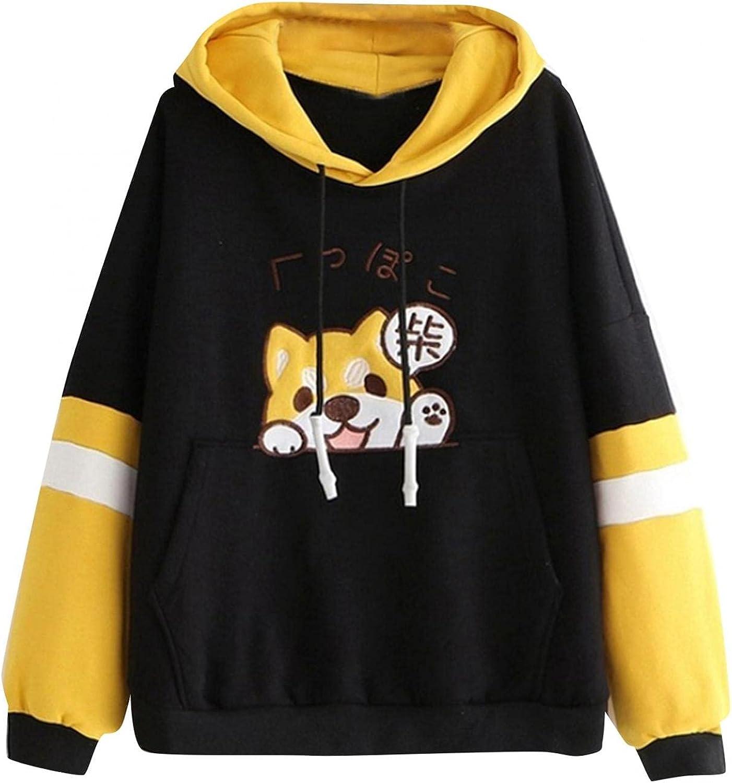 lucyouth Cute Hoodies for Women Teen Girls Kawaii Style Puppy Print Long Sleeve Pullover Color Block Pocket Hooded Sweatshirt