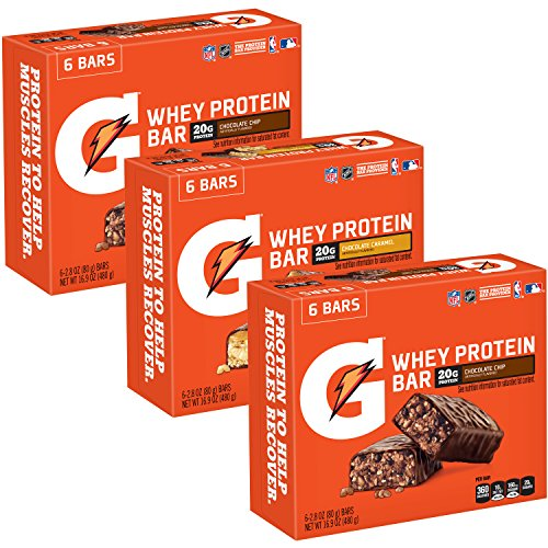 Gatorade Whey Protein Bars, Variety Pack, 2.8 oz bars (Pack of 18)