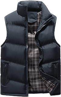 BOZEVON Men's Winter Down Vest Windproof Down Puffer Jacket Coat Waterproof Sleeveless Zipper Stand Collar Outwear