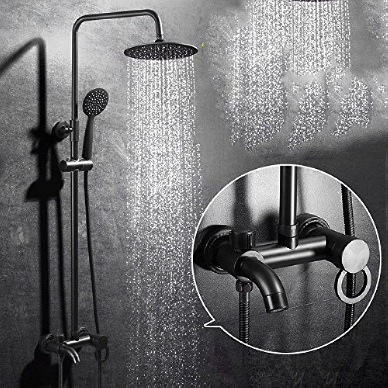 Athraoay Wasserhahn Bad Armatur Waschtischarmatur Schwarz Dusche Set Messing Warmes und kaltes Wasser Düse thermostatische Einhebelsteuerung Waschbeckenarmatur Waschtischbatterie für Badezimmer