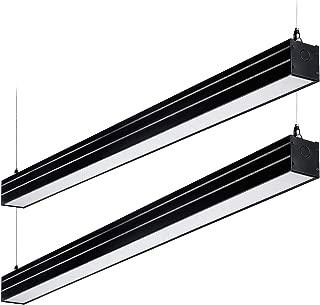 LEONLITE 4ft 0-10V Dimmable LED Linear Light, 4600lm Linkable Suspension Lighting Fixture, 40W (230W Eq.), UL & DLC, 4000K Cool White, for Office, Market, Garage, 5 Years Warranty, Pack of 2 - Black