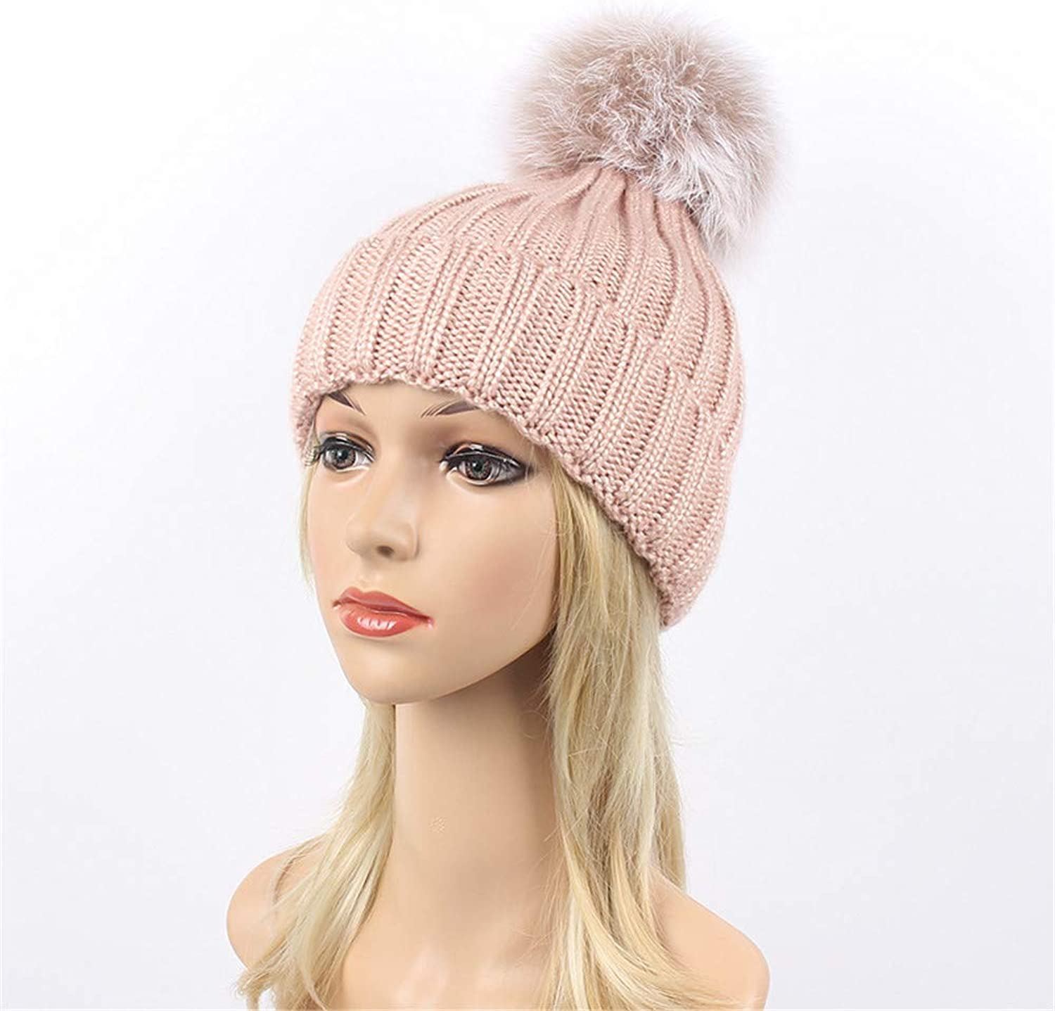 Women's Thickened Warm Knitted Hat Winter Soft Pompom Hats Cap for Female. (color   Pink)