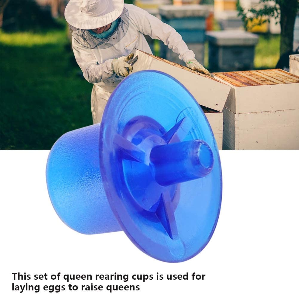 Blue Duokon 50pcs Plastic Beekeeping Queen Rearing Cell Cups Bee Feeding Keeper Cage Equipment Tool Apiculture Supply