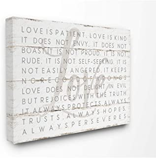 The Stupell Home Décor Collection Love is Patient Grey on White Planked Look Canvas Wall Art, 30x40, Multi-Color