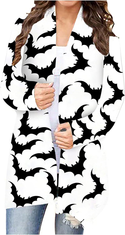 Women's Halloween Long Sleeve Open Front Cardigan Funny Cute Cat Pumpkin Black Ghost Lightweight Coat