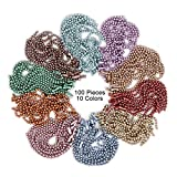 Rojwei 100pcs Nickel Free Mixed Color Metal Ball Chain with 100pcs Connectors Clasps (Chain Width 2.4mm+4inch Size), Great for Brag Tags Key Chain (Mix Color)