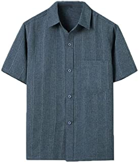 neveraway Men's Linen Relaxed Fit Summer Pure Color Short-Sleeve Button T-Shirts