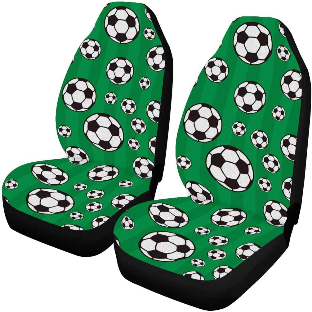 INTERESTPRINT Soccer Sacramento Mall Pattern Auto Seat OFFicial shop Covers pc 2 Entire