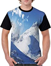 Man's T Shirts,Mountain Peak in Sunny Winter West Northern of States Habitat Hike Image