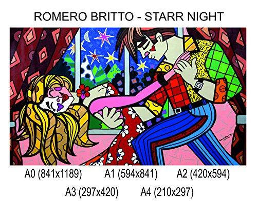 Social Crazy POSTER su carta fotografica premium 270 gr - Romero Britto - Starr Night - Fine Art Print Locandina HD 100% QUALITà ITALIA Idea Regalo Casa quadro home (A0)