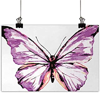 Animal Modern Canvas Painting Wall Art Artistic Butterfly Design in Watercolors Wings Moth Vintage IllustrationOffice Studio Corridor aisleViolet Salmon Black W28 x H20