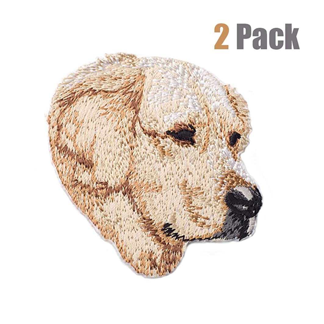 2 Pack Delicate Embroidered Patches,Cute Dogs Embroidery Patches, Iron On Patches, Sew On Applique Patch, Custom Backpack Patches for Men, Women, Boys, Girls, Kids, Super Cool! (Golden Retriever)
