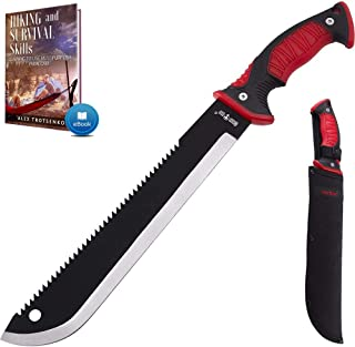 11 Inch Serrated blade Machete with Nylon Sheath - Saw Blade Machetes with Non-Slip Rubber Handle - Best Brush Clearing To...