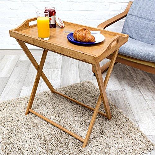 Relaxdays - Mesa Auxiliar de bambú, 63.5 x 55 x 35 cm, Bandeja Desayuno Cena Almuerzo, Mesa Plegable, Madera