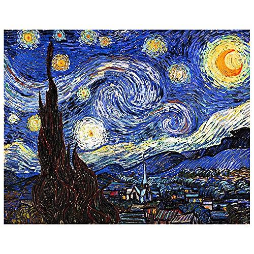 Legendarte - Stampa su tela - Notte Stellata - Vincent Van Gogh - Quadro su Tela, Decorazione Parete cm. 50x70