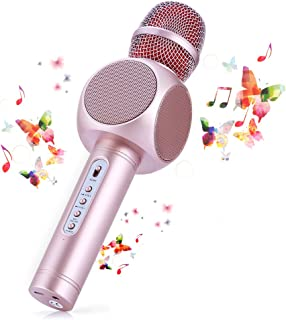 Wireless Bluetooth Karaoke Microphone, Fede 3-in-1 Portable Karaoke System with Two Built-in Speakers for Home KTV, Outdoor and Birthday Party. Work with Apple iPhone Android Smartphone or PC