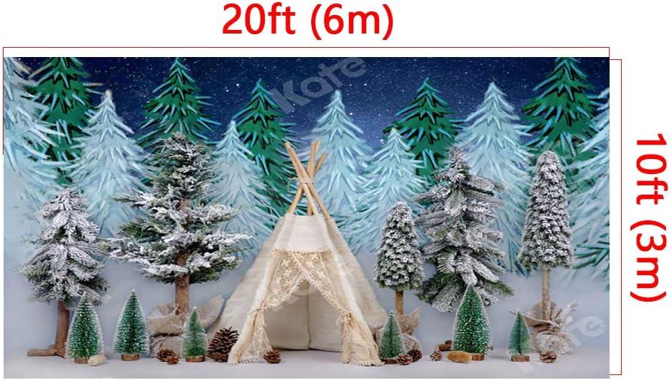 Kate 10x6.5ft Winter Snow Photography Backdrop Night Baby Portrait Background Christmas Tree Photo Backdrop