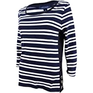 Tommy Hilfiger Womens Striped 3/4 Sleeves Casual Top
