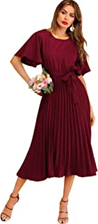 Women's Elegant Pleated Belted Solid Long A Line Dress