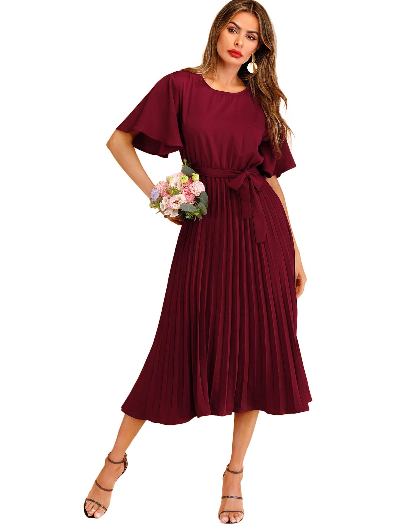 Wedding Guest Dresses - Women's Long Sleeve Velvet Bodycon Wrap Dress For Wedding Guest