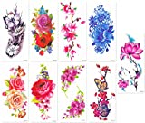 DaLin Sexy Temporary Tattoos Women 9 Sheets Rose, Peony Flower, Butterflly, Lotus, Cherry Blossoms