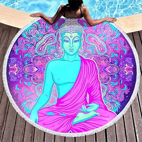 Toalla de playa grande redonda de microfibra, con diseño de Buda, mandala, toalla de playa, yoga, meditación, baño, manta de pícnic, manta de playa, color lila, 150 cm