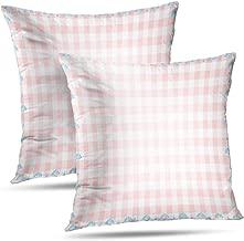 KJONG Square Decorative Pillowcase, 18 x 18 inch Set of 2 Throw Pillow Covers Gingham Check Backdrop Rain Drop Umbrella Blue Check Coverfor Farmhouse Decor Bedroom Living Room Sofa, Gingham Check