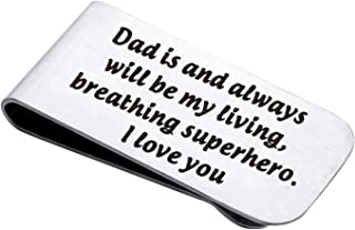 LQRI Dad Money Clip Father Dad Daddy Gifts Dad Is and Always Will Be My Living Breathing My Hero Money Clip Father's Day G...