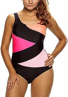 Color Block Front Lace up One Piece Swimsuit