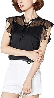 ブラウス レディース シャツ トップス 半袖 セクシー シフォン おしゃれ きれいめ ゆったり 夏