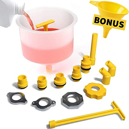 Thorstone Spill Free Radiator Coolant Filling Funnel Kit | No Spill Radiator Funnel Bleeder,with Adapters Fit Universal Vehicles,Clear