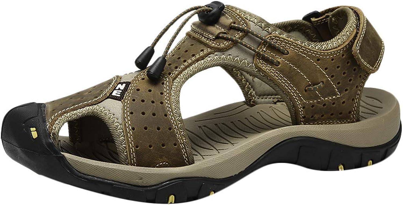 Caopixx Men Outdoor Hiking Sandals Breathable Athletic Climbing Summer Beach Water shoes Cool Comfortable Skinny Highten Increasing Soft Handsome Leg Length Joker Khaki US 9 shoes