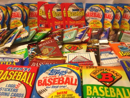 100 Vintage Baseball Cards in Old Sealed Wax Packs - Perfect for New...