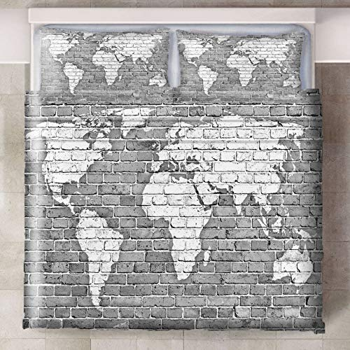 LLPZ Gray Map Printing Duvet Cover, Polyester Bedding Set, Easily Removable By Zipper, Two Pillowcases