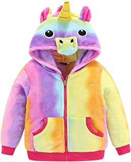 Juway Girls Kids Unicorn Hoodies Flannel Halloween Cartoon Costume