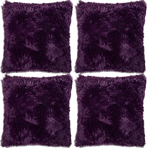 Adore 4 x Long Pile Super Soft and Cuddly Shaggy 17x17 (43x43cm) Cushion Cover, Purple