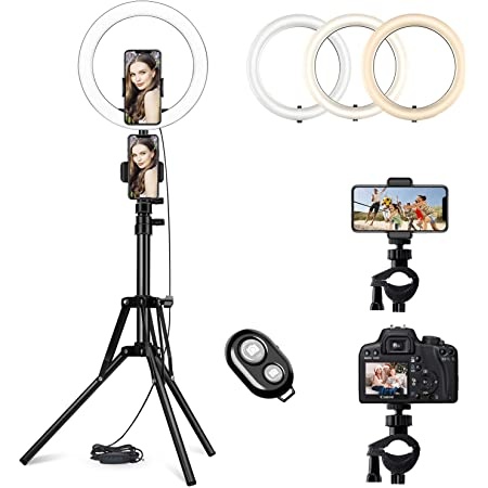 10'' LED Ring Light with Adjustable Tripod Stand and Phone Holder Selfie Halo Light Dimmable Led Camera Beauty Ringlight Perfect for Live Streaming & YouTube/TikTok Video/Makeup Compatible (10 inch)