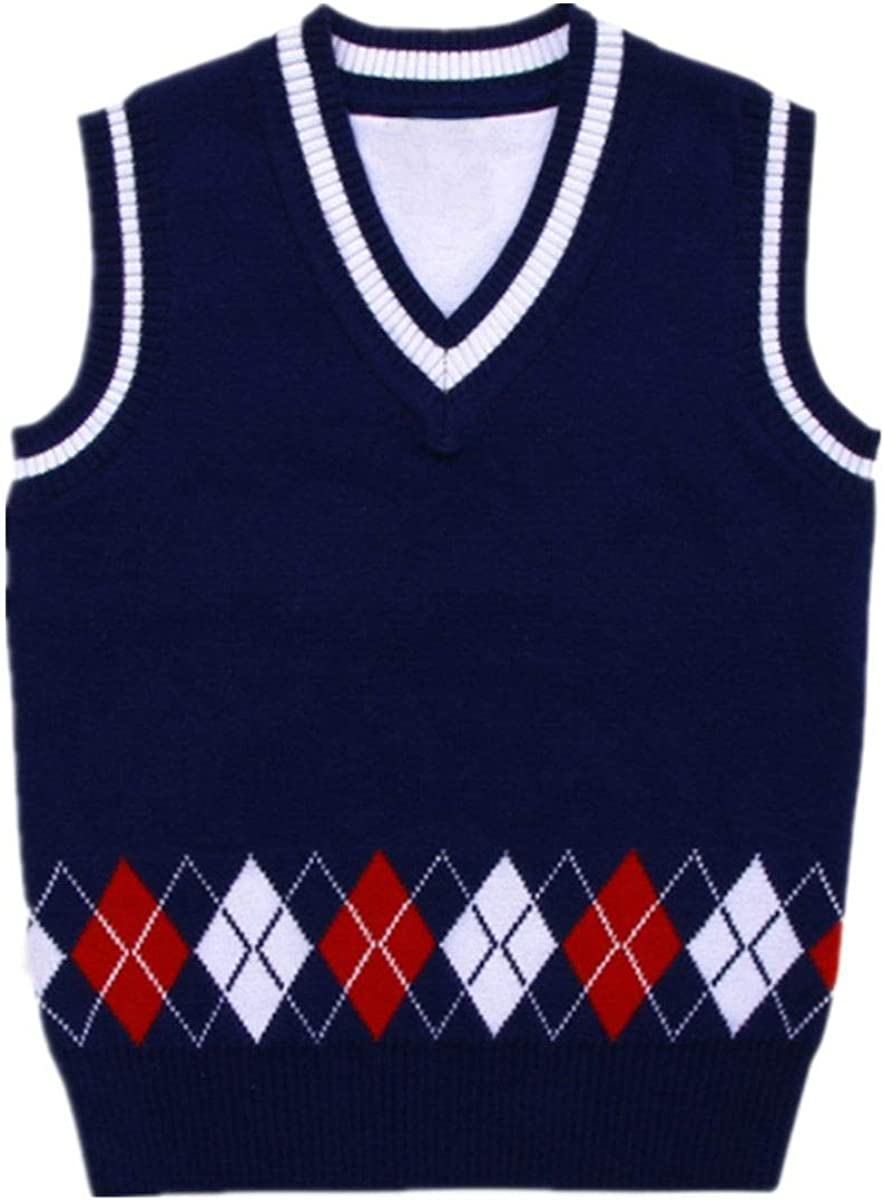 BOBOYOYO Boys V-Neck Argyle Sweater School Uniform Pullover 100/% Cotton Tops for Kids