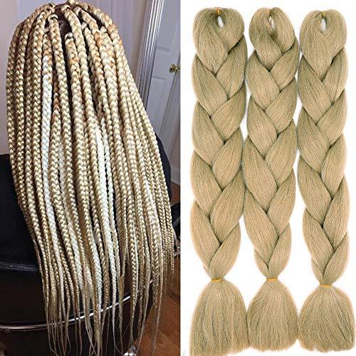 60cm Braids Kunsthaar Jumbo Braiding Hair Haarverlängerung Haar Synthetik Flechten Crochet Haarteile 3PCS 100g/Bündel (A-Natürliche Blondine)