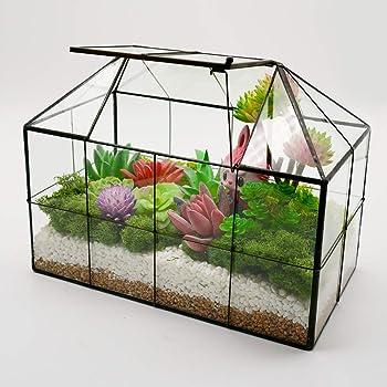 "Luckyslife Succulent Geometric Glass Terrarium - Tabletop House Shape Clear Glass Plant Terrariums 9.8""X7.9""X5.9"""