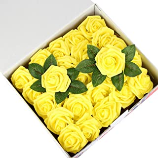Febou Artificial Flowers, 50 pcs Real Touch Artificial Foam Roses Decoration DIY for Wedding Bridesmaid Bridal Bouquets Centerpieces, Party Decoration, Home Office Decor (Standard Type, Yellow)