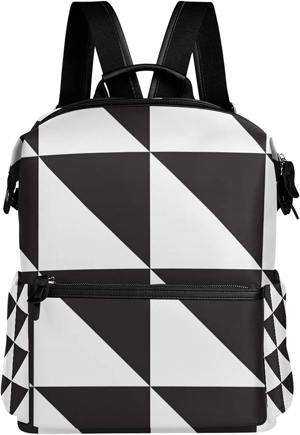 MONTOJ Black White Triangle Pattern Leather Travel Bag Campus Backpack