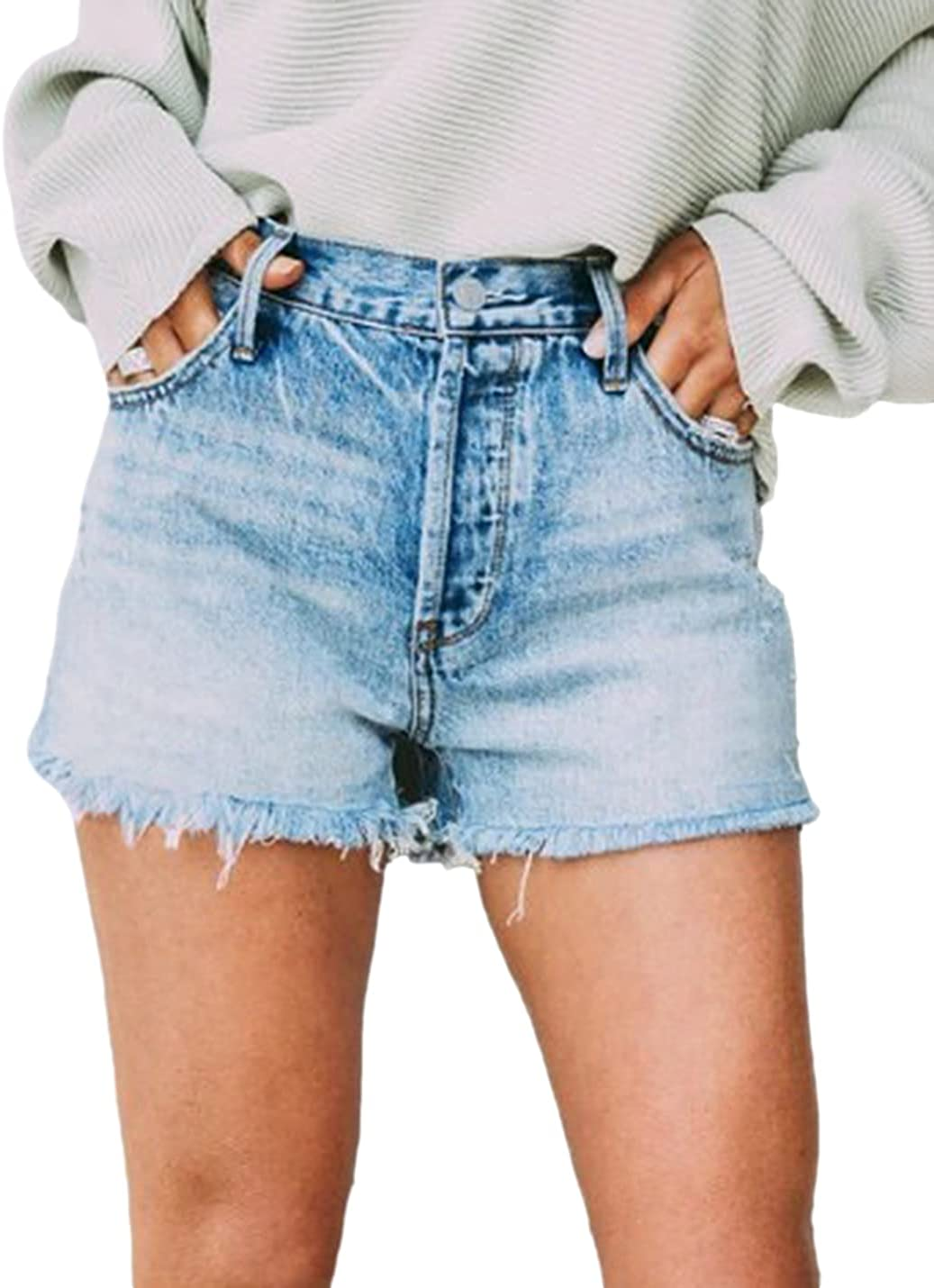 SeekMe Women's Casual High Waisted Side Slit Distressed Frayed Wash Denim Jean Shorts