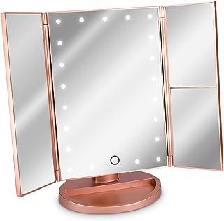 Navaris Espejo cosmético LED Plegable - Espejo tríptico de